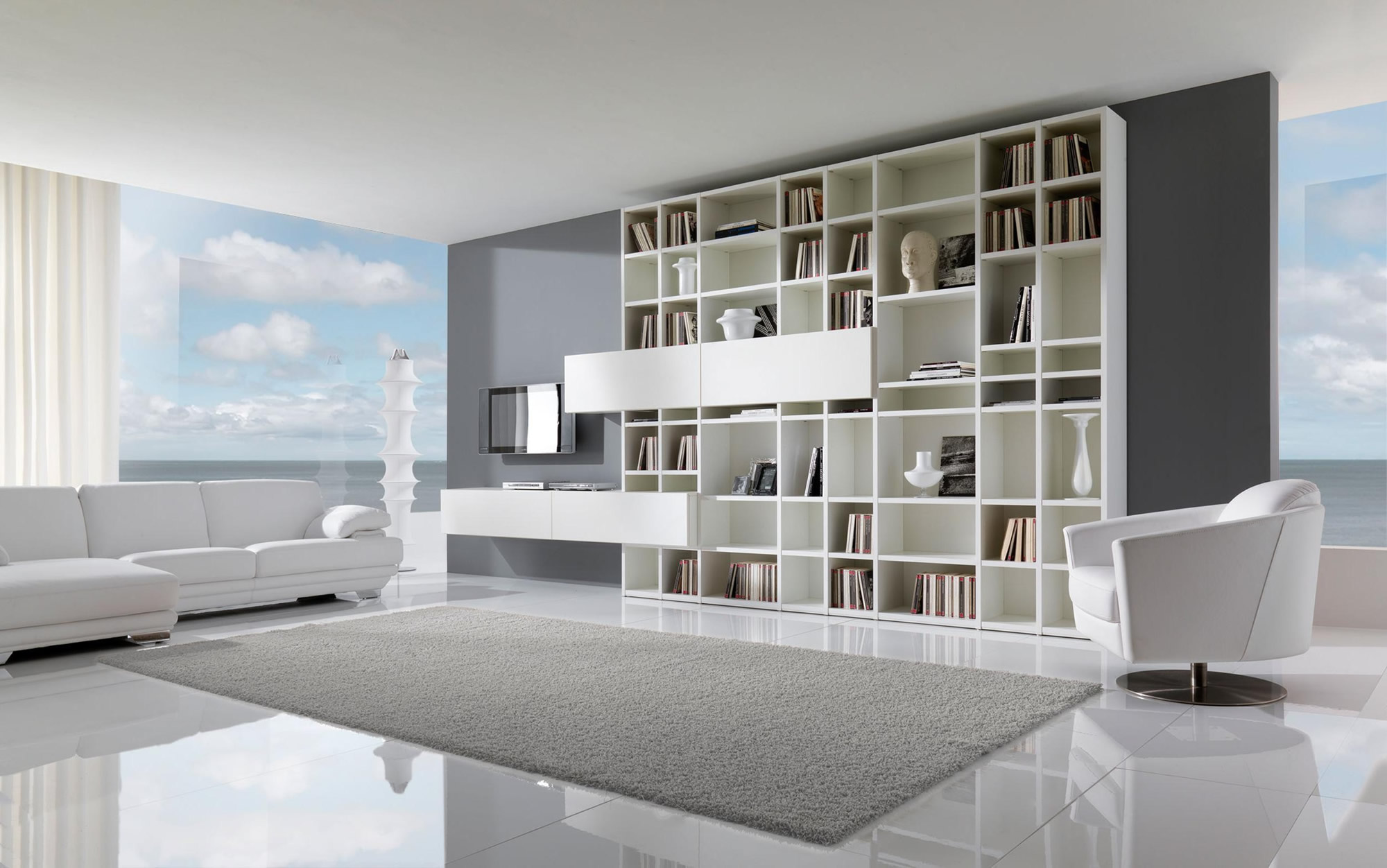white tile flooring living room